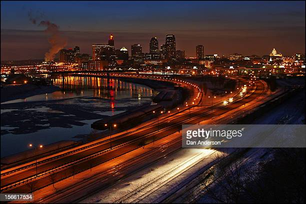 saint paul downtown night - st. paul minnesota stock pictures, royalty-free photos & images
