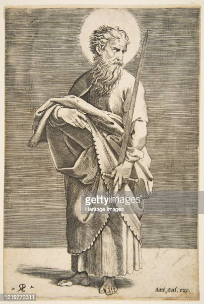 Saint Paul looking to the right and holding a sword and a book, circa 1515-27. Artist Marco Dente.