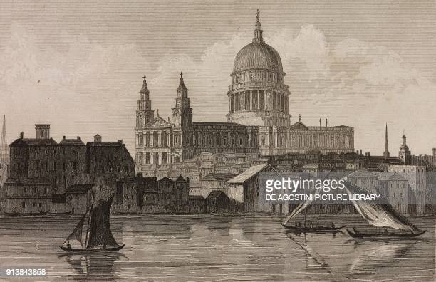 Saint Paul's Cathedral London England United Kingdom engraving by Lemaitre from Angleterre volume III by Leon Galibert and Clement Pelle L'Univers...