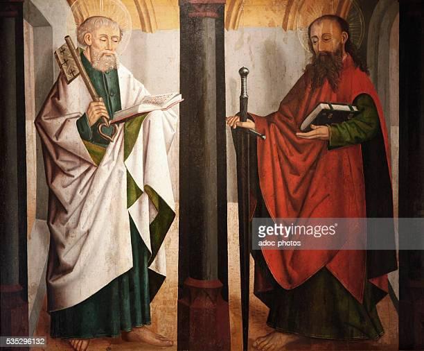 """Saint Peter and Saint Paul"". Panel of an altarpiece from Guebwiller . Oil on wood. Ca. 1460. Strasbourg, Musée de l'Œuvre Notre-Dame."