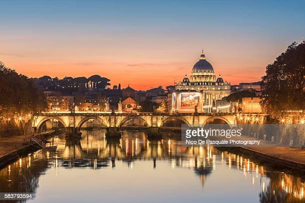 Saint Peter Basilica at sunset