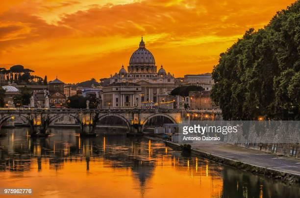 Saint Peter Basilica at sunset, Vatican