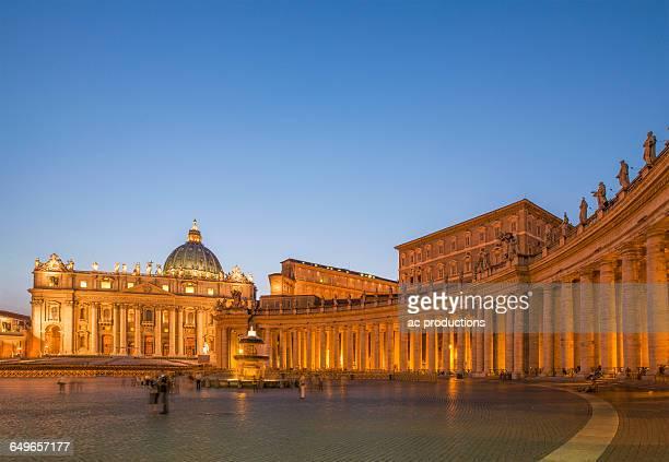 Saint Peter Basilica at the Vatican illuminated at night, Rome, Lazio, Italy