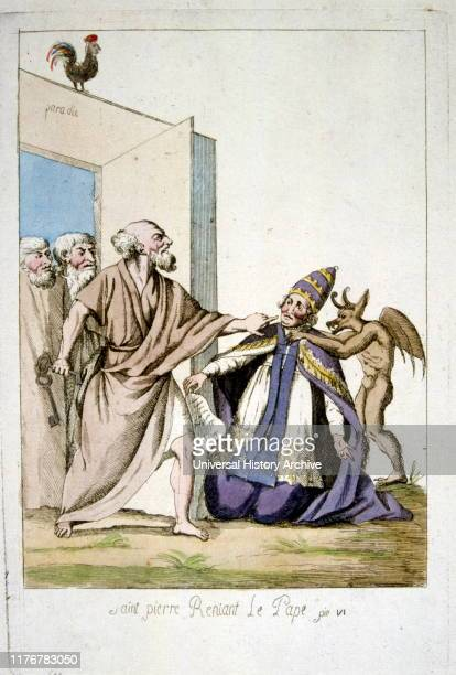 Saint Peter disavowing the Pope Satirical illustration of the French Revolution 1791
