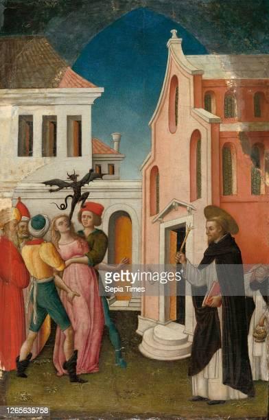 Saint Peter Martyr Exorcizing a Woman Possessed by a Devil. 1445/55. Antonio Vivarini. Italian. About 1415-1476/84. Italy. Tempera on panel. Panel:...