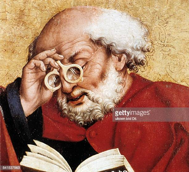 Saint Peter Saint Peter *064 Apostle disciple of Jesus portrait with glasses detail from an altar painting by Friedrich Herlin in St Jakobskirche...