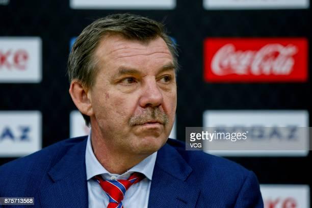 Saint Petersburg head coach Oleg Znarok attends the press conference after the 2017/18 Kontinental Hockey League Regular Season match between HC...