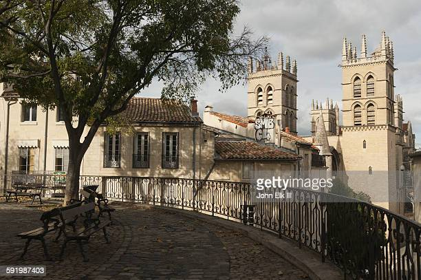 saint pierre cathedral from place de la canourgue - montpellier stock pictures, royalty-free photos & images