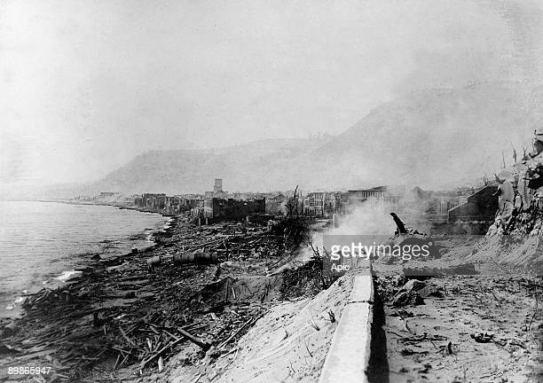 Saint Pierre destroyed by the volcanic eruption of Mount Pelee on may 8 1902