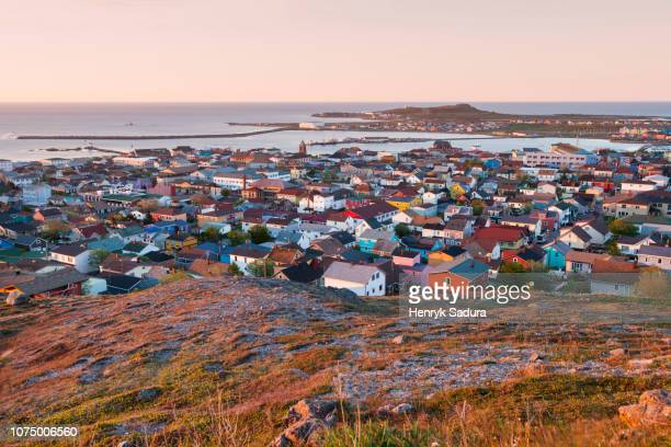 saint pierre panorama at sunrise - french overseas territory stock pictures, royalty-free photos & images