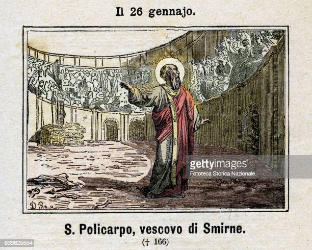 Saint Policarpo , Bishop and theologian, martyr, of Smyrna. Arrested during the reign of Antoninus Pius for refusing to sacrifice to the pagan gods,...