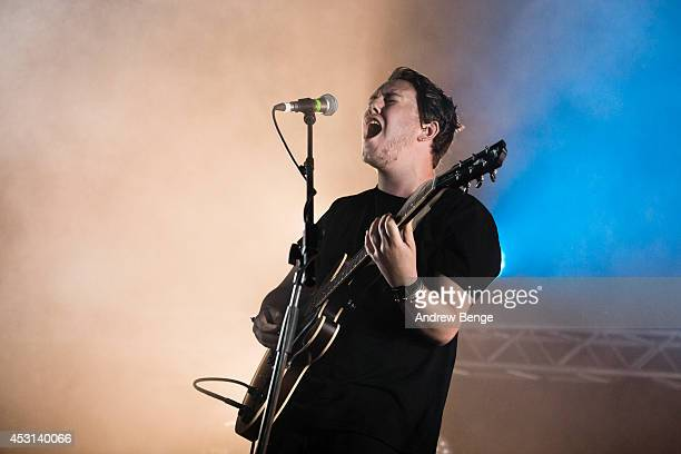 Saint Raymond performs on stage at Kendal Calling Festival at Lowther Deer Park on August 3 2014 in Kendal United Kingdom