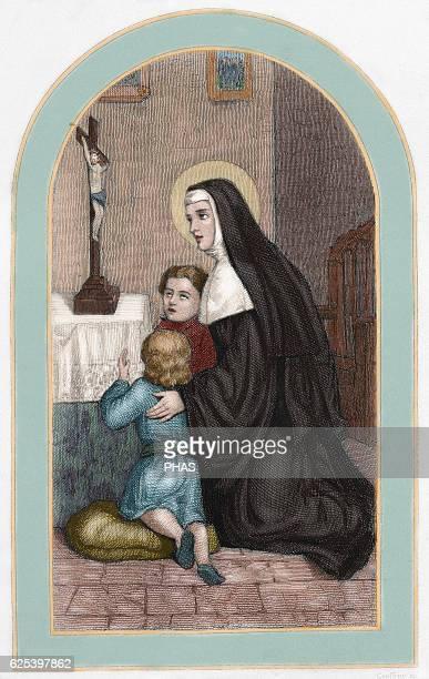 Saint Rita of Cascia Italian Augustinian nun Colored engraving 19th century