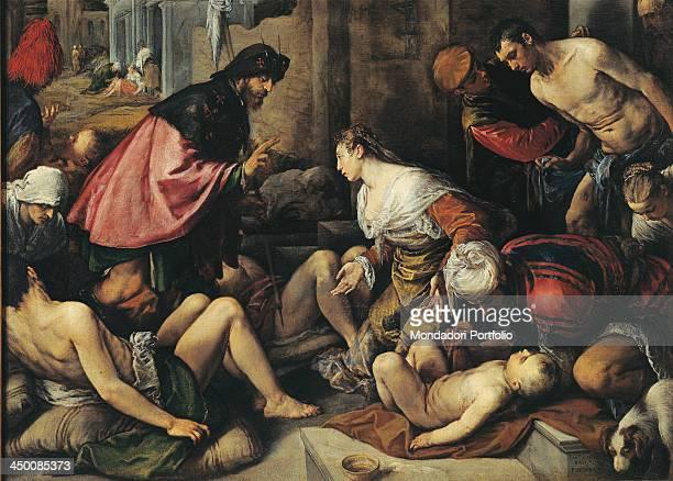 Saint Roch visits the plague victims Saint Roch Altarpiece by Jacopo da Ponte known as Bassano 16th Century oil on canvas 350 x 210 cm
