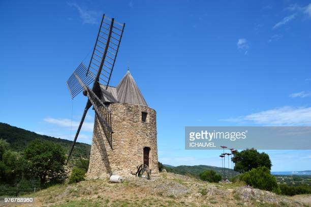 saint roch's windmill france - traditional windmill stock photos and pictures