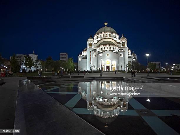 saint sava temple at night - belgrade serbia stock photos and pictures