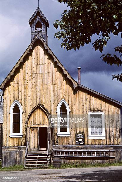 Historic Wooden Church on a Stormy Day