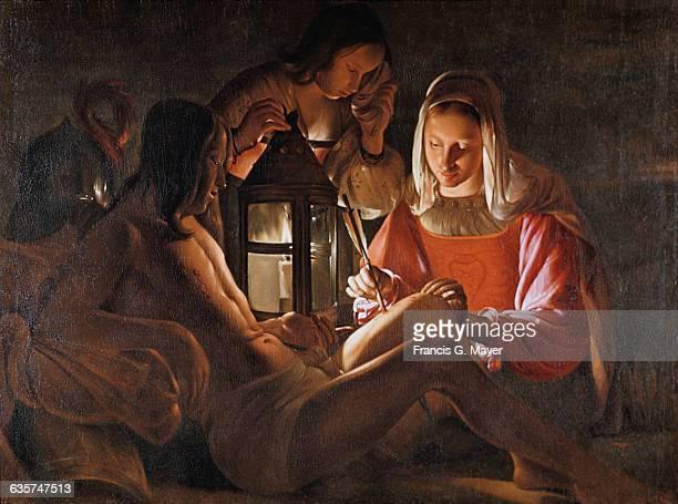 Saint Sebastian Tended by Saint Irene Attributed to Georges de La Tour