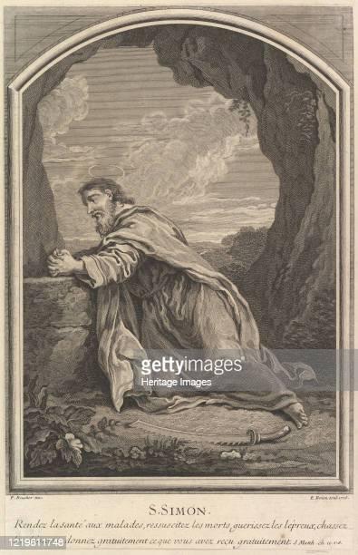 Saint Simon, 1726. After Francois Boucher. Artist Etienne Brion.