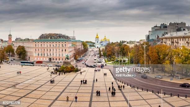 saint sophia square or sofijivska square, kyiv, ukriaine - ukraine stock photos and pictures