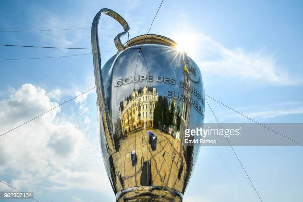 Saint Sophia's cathedral is seen reflected on a giant replica of the UEFA Champions league trophy ahead of the UEFA Champions League final between...