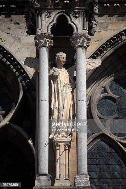 Saint statue on exterior of Reims Cathedral