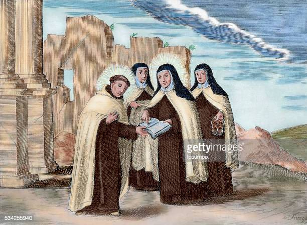 Saint Teresa of Ávila and Saint John of the Cross. They established the Discalced Carmelites. Colored engraving.