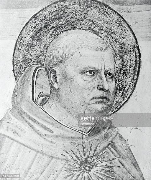 Saint Thomas Aquinas an Italian scholastic philosopher is depicted here The detail is from Fresco by Fra Angelico