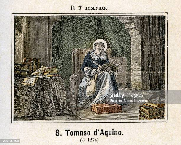 Saint Thomas Aquinas Dominican friar theologian and Italian philosopher patron of theologians academics booksellers pupils students manufacturers of...