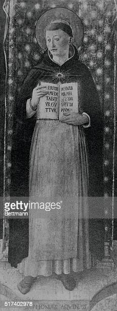 Saint Thomas Aquinas Italian scholastic philosopher Fresco by Fra Angelico Vatican chapel of Nicholas V