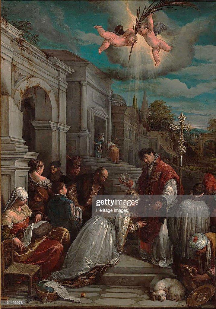 Saint Valentine baptizing Saint Lucilla, 1575. Artist: Bassano, Jacopo, il vecchio (ca. 1510-1592) : News Photo
