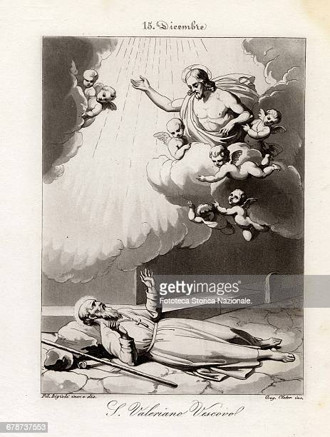 Saint Valerian Bishop very old man was banished from the city Abbenza and left to die without any assistance, however he was taken up into heaven by...