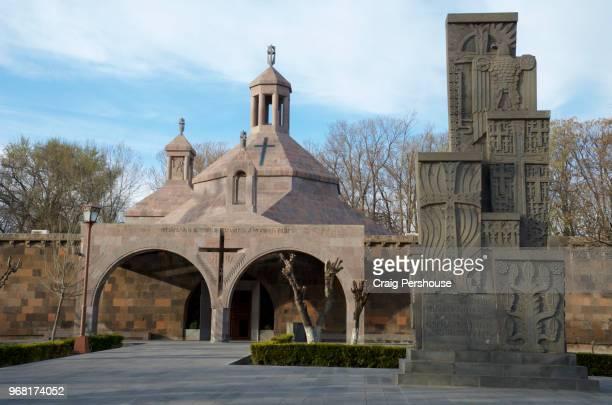 saint vartan baptistery and armenian genocide memorial. - 大量殺人 ストックフォトと画像