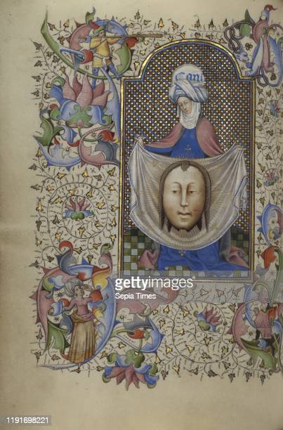 Saint Veronica Displaying the Sudarium Master of Guillebert de Mets Ghent Belgium about 1450 1455 Tempera colors gold leaf and ink on parchment Leaf...