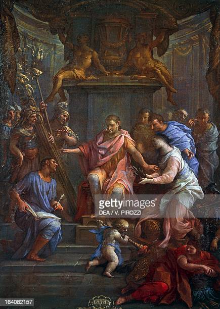 Saint Veronica healing Tiberius with her veil series of paintings with scenes from the life of the Roman emperors by Lazzaro Baldi oil on canvas Rome...