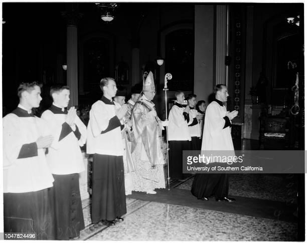 Saint Vibiana Church Christmas mass, 25 December 1953. James Francis Cardinal McIntyre .;Caption slip reads: 'Photographer: Olmo. Date: . Reporter:...