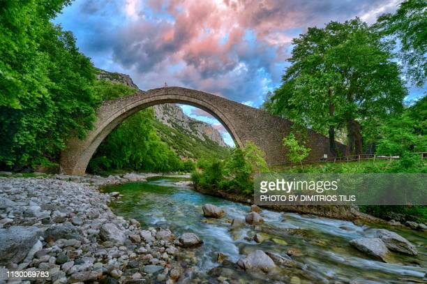 saint vissarion or porta's  stone bridge  at pyli trikala - thessaly stock pictures, royalty-free photos & images