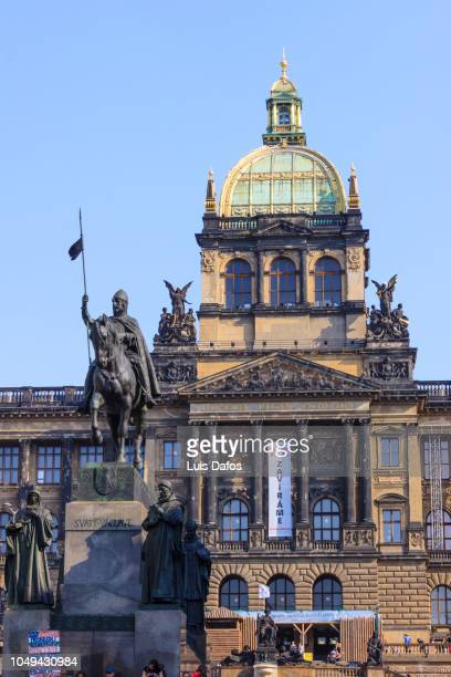 Saint Wenceslas statue and Czech National Museum