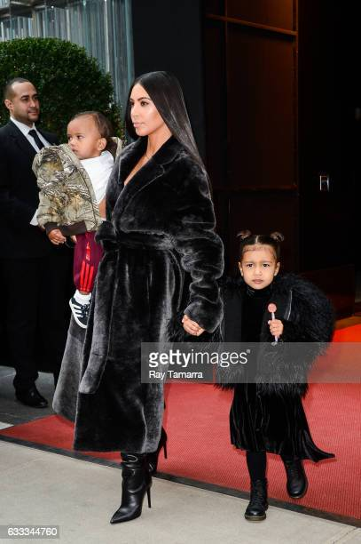 Saint West television personality Kim Kardashian West and North West leave their Midtown Manhattan hotel on February 01 2017 in New York City