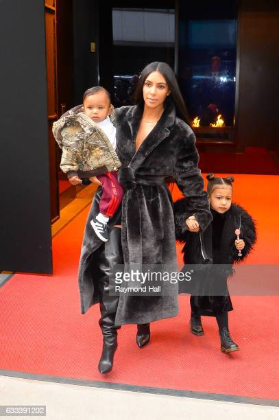 Saint West television personality Kim Kardashian West and North West leave their Midtown Manhattan hotel on February 1 2017 in New York City