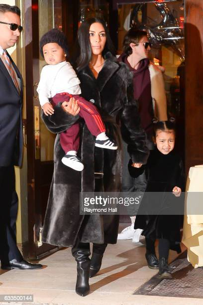 Saint West television personality Kim Kardashian West and North West are seen in Soho on February 1 2017 in New York City