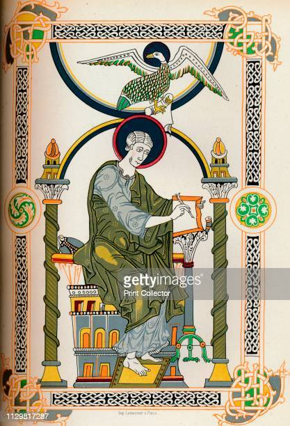 Saint writing 19th century facsimile of a medieval manuscript in the former Library of the Dukes of Burgundy Brussels From Volume 2 of Le Moyen Age...