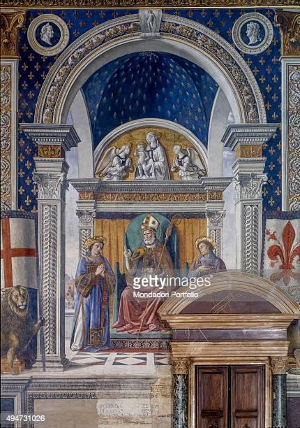 Saint Zenobius and Saints Eugene and Crescentius by Domenico Ghirlandaio 14821484 15th century fresco Italy Tuscany Florence Palazzo Vecchio Room of...