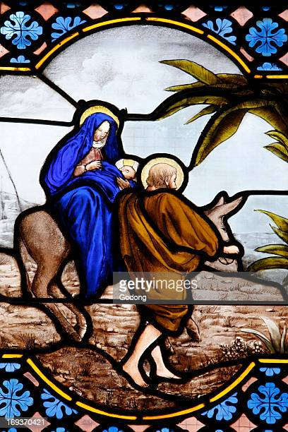 SaintCorentin cathedral Quimper Stained glass the flight to Egypt