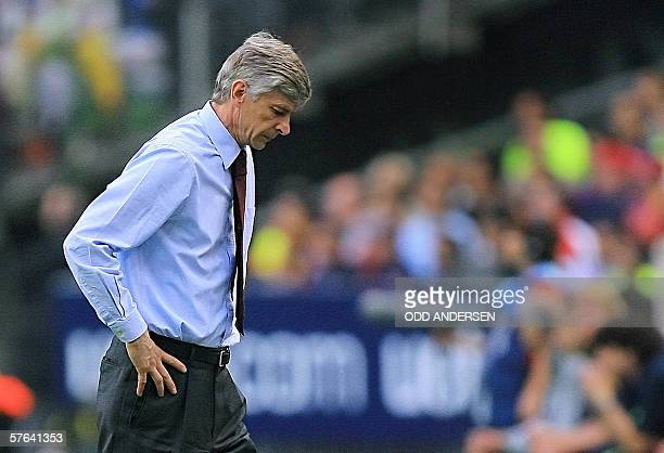 Arsenal's French coach Arsene Wenger is seen during the UEFA Champion's League final football match Barcelona vs Arsenal 17 May 2006 at the Stade de...