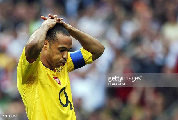 Arsenal's French forward and team captain Thierry Henry reacts during the UEFA Champion's League final football match Barcelona vs Arsenal 17 May...