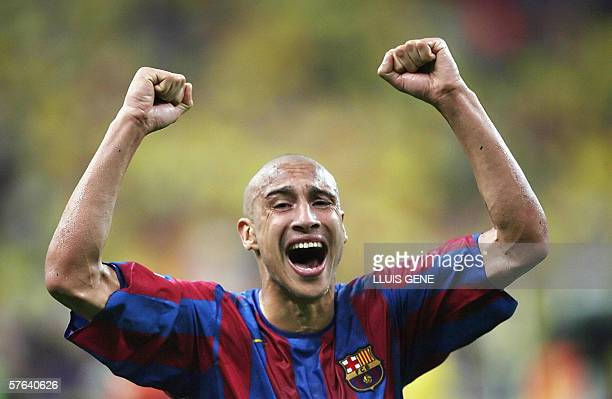 Barcelona's Swedish forward Henrik Larsson celebrates after his team won the UEFA Champion's League final football match against Arsenal 17 May 2006...