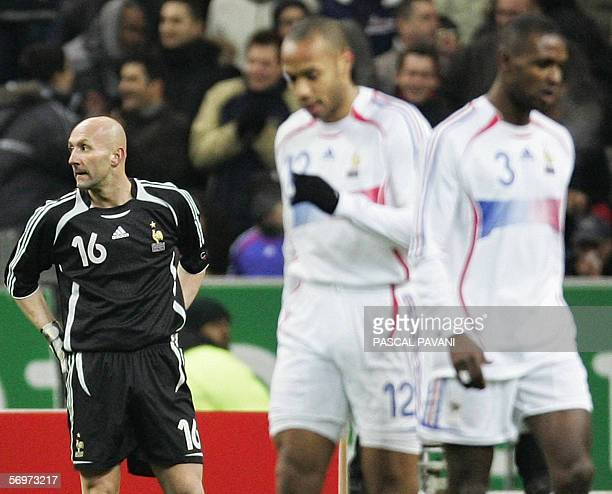 France's goalkeeper Fabien Barthez looks dejected after after the second goal for Slovakia during the friendly football match France vs Slovakia as...