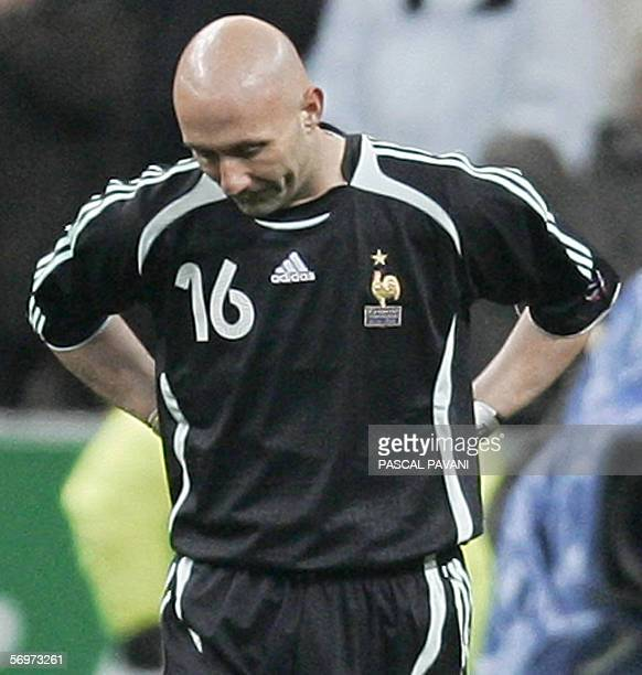 France's goalkeeper Fabien Barthez looks dejected after conceeding a goal during the friendly football match France vs Slovakia as part of France's...