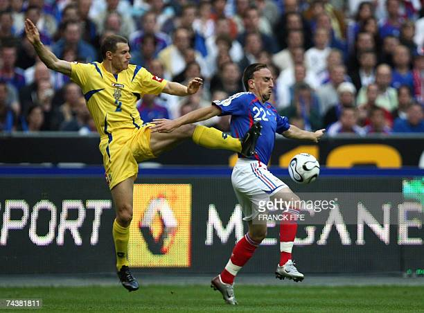 France's midfielder Franck Ribery vies with Ukraine's defender Andrei Nesmachny during their Euro2008 qualification football match at the Stade de...